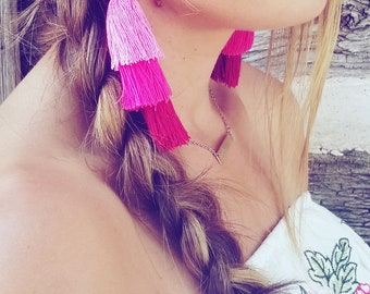 Ombre pink tassel earings