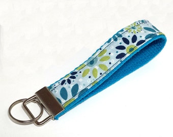 FREE SHIPPING UPGRADE with minimum -  Key Lanyard - Key Fob - Fabric Key Ring -- Deep Teal and Blue Blooms