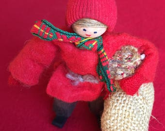 Swedish Tomte ornament/ Butticki of Sweden/ boy with jute bag/Holiday decor/handmade vintage ornament/Christmas decor/onlyformejewelry/gift