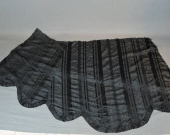 Victorian Dress Remnant Black Silk Moire Taffeta from Skirt or Cape, Antique 1800s Vintage Fabric