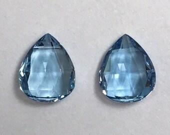 Aquamaring Briolette Pair, Loose Gemstone, 4.64 cts, Blue Briolette Gemstones
