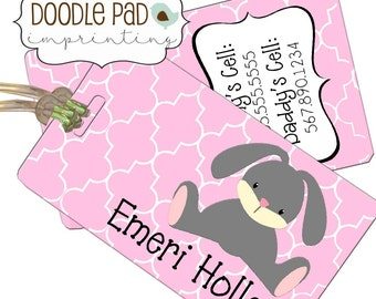 Bunny Diaper Bag Tag, Kids Luggage Tag, Personalized