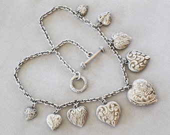 Vintage Heavy Sterling Silver Graduated Puffy Heart Engraved Charms Sterling Silver Necklace