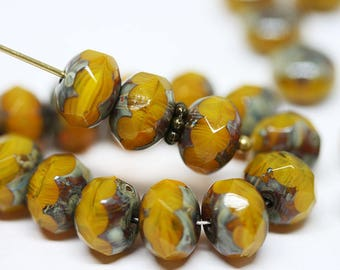Ocher Yellow glass beads Picasso czech glass rondelle beads Yellow Ocher donuts Gemstone cut fire polished rondel beads 6x8mm - 12Pc - 2651