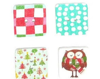 4 x 25mm Square Christmas wooden buttons Pack 1