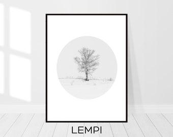 Tree Print, Landscape Print, Nature Print, Scandinavian Decor, Tree Wall Art, Printable Art, Black and White, Modern Art, Printable Art