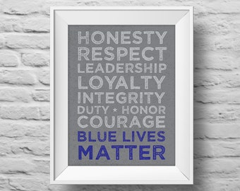BLUE LIVES MATTER unframed Typographic poster, inspirational print, law enforcement wall decor, quote art. (R&R0158)