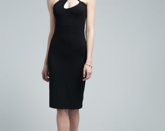 Black Halter Dress / Party Dress / Cocktail Dress / Strap Dress / Pencil Dress / Short Dress / Marcellamoda - MD0633
