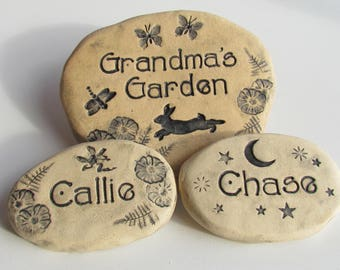 Personalized Custom Grandmother/Grandma gift. Grandchildren names garden markers. Rustic garden decor, Family name signage.