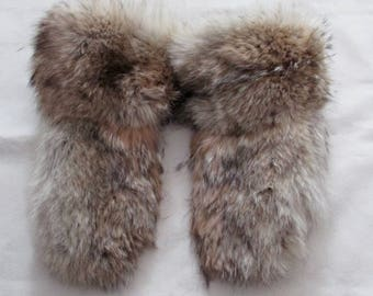 Coyote fur and leather mittens