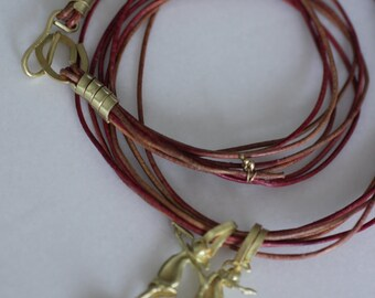 Leather chain with 18k gold terminus minimalist jewelry style handmade 7 strands
