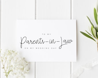 Parents In Law Wedding Day Card, To My In Laws Wedding Day Card, Parents-In-Law Wedding Card, To My Parents In Law On My Wedding Day Card