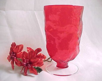 1960s Morgantown Crinkle Ruby Red Goblet, Vintage Collectible Mid Century Casual Glass Ice Tea, Can Confuse With Seneca Driftwood Pattern