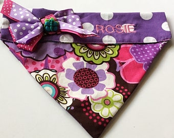 Purple Floral Bandana for Girl Dogs and Cats-Embroidered or Unembroidered Bandana
