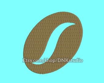Coffee Bean Embroidery Design - 5 Sizes - INSTANT DOWNLOAD