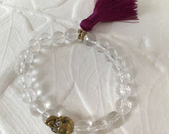 Amplified Skull Quartz crystal stretch bracelet with tassel