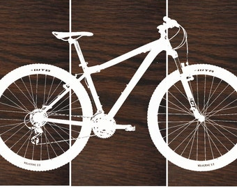 Mountain Bike Wall Art / Bicycle Screen Print / Wood Painting Wall Art On  Stained Solid