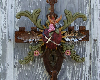 Sculpted Assemblage Sacred Heart Cross