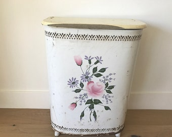 Vintage floral cream metal laundry hamper by DETECTO