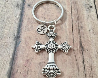 Cross initial key ring - cross keychain, cross accessories, cross key ring, religious key ring, cross initial key ring, Christian key ring