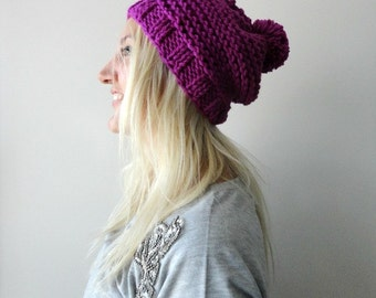 Womens Pom Pom Hat, Purple Pom Pom Beanie, Slouchy Pompom Beanie, Knit Hats for Woman, Wool Knit Hats, Purple Beanie Winter Accessories Gift