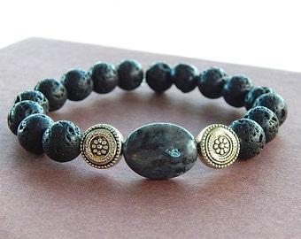 Oval Labradorite Gemstone & Black Lava Rock Bracelet Rockstar Unisex Perfect For A Man or Woman Artifacts Collection