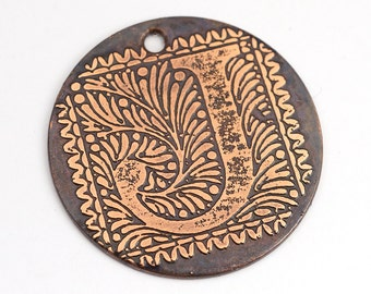 Letter J pendant, round flat etched copper focal point, 28mm