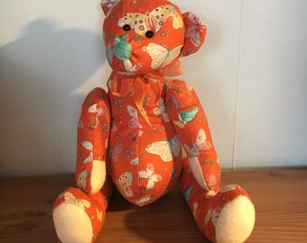 Handmade fabric bear - teddy bear