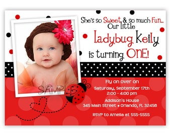 Pink or Red Ladybug Birthday Invitation (You Print)