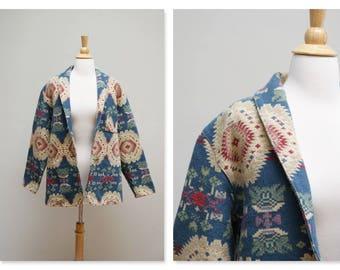 Vintage Aztec Jacket ⎮ 80s Tapestry Jacket ⎮ Southwestern Tribal Native Blanket Jacket