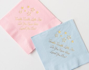 Twinkle Twinkle Gold Foil Napkins - Ready To Ship - Set Of 20 | Gender Reveal Party | Baby Shower | Twinkle Twinkle Little Star Birthday