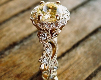 Yellow Sapphire Vine Engagement Ring in 14K Yellow Gold with Diamonds in Leafs and Flower Blossoms Size 5