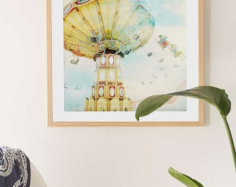 "Nostalgic Carnival Fine Art Print // ""Ride The Sky"" Carnival Photography for a Modern home // Kids Room Art // Pastel Print Carousel"