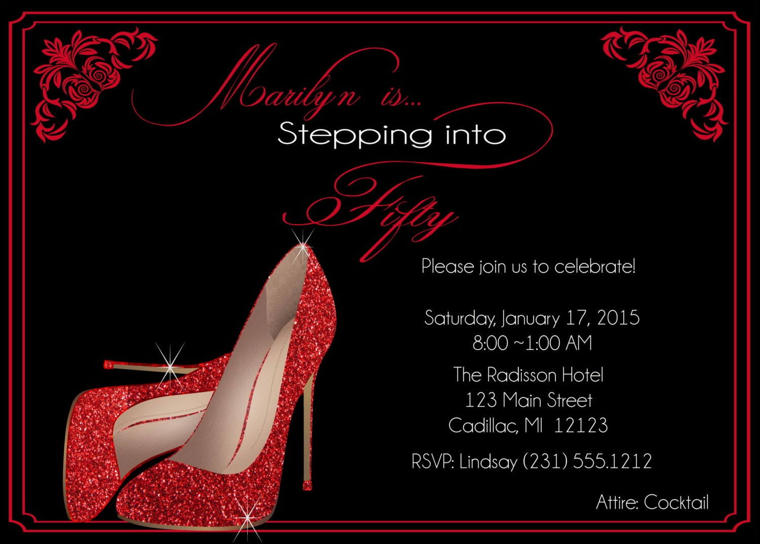Red Glitter Shoes Birthday Invitation Fifty & Fabulous