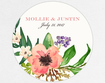 Floral Favor Labels, Floral Favor Tags, Favor Stickers, Wedding Labels, Printed Labels, Stickers, Watercolor, Watercolor Flowers, Mollie