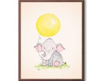 Baby Girl Nursery Art, Elephant Nursery Decor, New baby girl gift, Kids Room Art, Wall Art for Baby Nursery, E454
