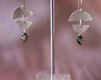 Original sterling silver handcrafted earrings with japanese influenced beads.