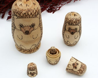 LIMITED EDITION: Hedgehog nesting dolls, wood-burned hedgehog, Matryoshka Dolls, wood gift, collectible hedgehog