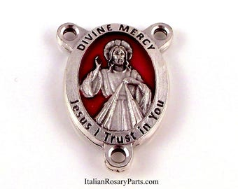 Divine Mercy of Jesus Rosary Center Medal With Red Enamel Background | Italian Rosary Parts