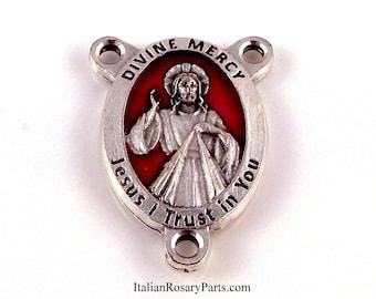 La divine miséricorde de Jésus Rosaire Centre médaille avec un fond émaillé rouge | Rosaire italien parties