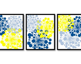 yellow flowers print etsy