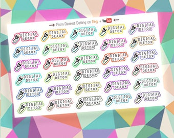 30 Unplug Digital Detox Social Media Blackout multicolor stickers for Functional White Space Planning - Personal Planner