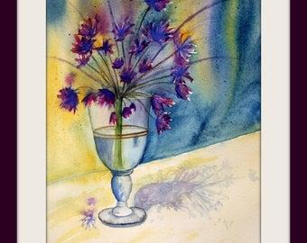 Watercolor - unique - Allium Blossom - Size 24x32 cm