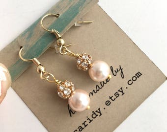 Blush Earrings Bridesmaid, Blush Bridesmaid Gift, Pearl Earrings, Blush Necklace Set, Blush Earrings bridal, blush dangle earrings, Bride