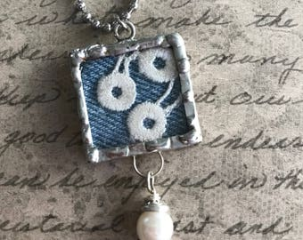 Denim and Lace Silver Soldered Collage Pendant - Necklace