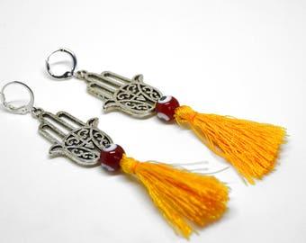 Nazar Tassel Earrings, Evil Eye Earrings, Turkish Charm Earrings