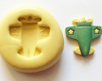 Airplane mold 953 - silicone mold, craft mold, porcelain mold, jewelry mold, food mold, pop up mold, clays mold, flexible mold