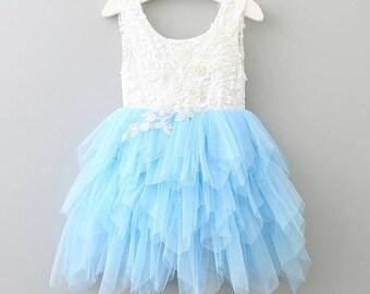 Blue flower girl dress,White lace dress,blue tutu dress,blue tulle dress, Bridesmaid,Birthday,Wedding, Holiday,Party, Rustic wedding