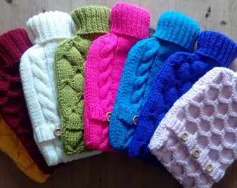 handknitted hot water bottle cover with 2 litre bottle