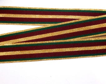 Christmas Ribbon, Burgundy, Green, and Gold Grosgrain Ribbon 7/8 inches wide x 10 yards
